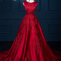 2017 Red Satin Ball Gown Evening Dress Court Train Embroidery Beading Sleeveless Formal Evening Gown Party Dresses Custom Made