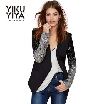 YIKUYIYA 2017 Casual Sliver Sequin Women Blazer Solid Black PU Patchwork Blazer Female One Button Slim The Office Ladies Blazers