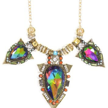 Aurora Borealis Crystal Statement Pendant Necklace Green Neon Pink Gold Tone Bib NN48 Fashion Jewelry