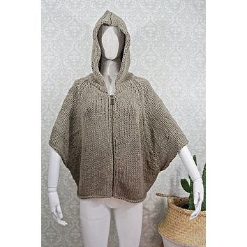 Modern Woven + Hooded Poncho Sweater