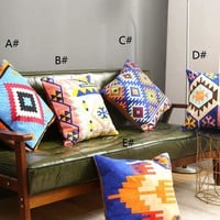 Graphic Embroidery Cushion Cover 1pc
