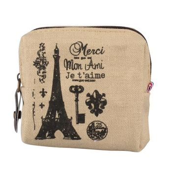 Women Paris Themed Mini Canvas Handbag #Y5