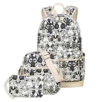 Set Backpack Women Animal Owl Printing Backpack Canvas Bookbags School Backpacks Bags for Teenage girls Bagpack Backbag H1101