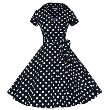 Womens Autumn Dresses Audrey Hepburn White Black Polka Dot Sleeveless Dress Ladies Casual Short Ball Gown A-Line Dresses