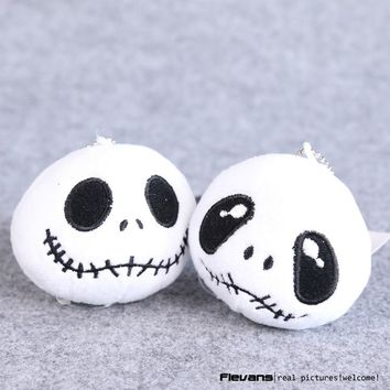 The Nightmare Before Christmas Jack Plush Toys with keychain Mini Soft Stuffed Dolls 8cm 10pcs/lot