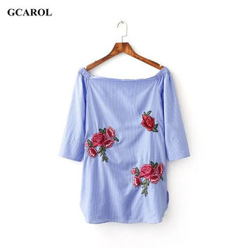 Women Trendy Rose Floral Embroidered Long Blouse Off The Shoulder Striped Print Blue Shirt Summer Sexy Ladies'Streetwear Tops