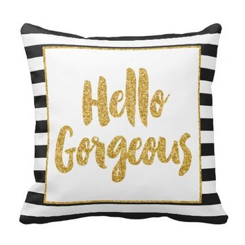 Hello Gorgeous Black & White Gold Glitter Stripes Throw Pillow