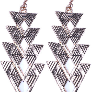CHAMPAGNE Gold Triangle White Angle Drop Earring EDE0000143
