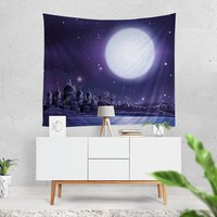 Moon Over Morocco Bohemian Fabric Tapestry
