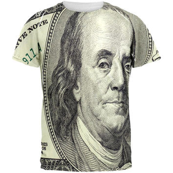 Ben Franklin Hundred Dollar Bill All Over Adult T-Shirt