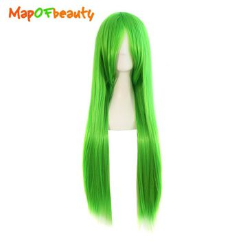 MapofBeauty 80cm Green Color Long Straight Cosplay Wigs High Temperature Fiber Heat Resistant Synthetic hair