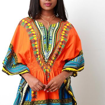 African Dashiki Smock Waist Mini Dress