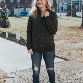 Quilted Pullover with Snap Neck, Dark Olive