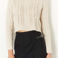 Knitted Crop Cable Jumper - Knitwear - Clothing - Topshop USA