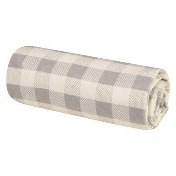Gray and Cream Buffalo Check Jumbo Deluxe Flannel Swaddle Blanket