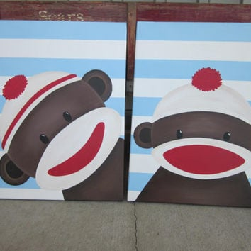 Sock Monkey Art on Blue Stripes - Set of 2 - Hand painted Original Paintings Set  - You customize!