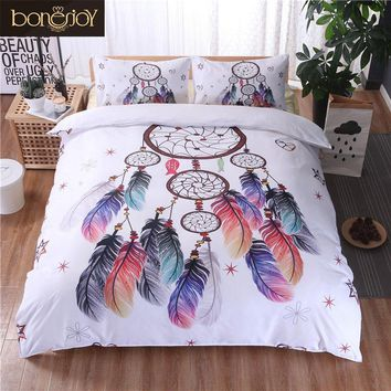 Cool Bonenjoy White Bedding Set King Size Quilt Cover Feather Dream catcher Print For Girls Used Single Bed Linen Duvet Cover QueenAT_93_12