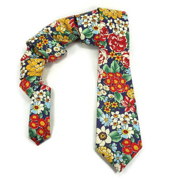 Red yellow floral, old fashion floral skinny tie, red blue skinny tie, autumn skinny tie, mens necktie, narrow ti, flowers skinny tie