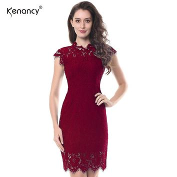 Kenancy 2XL Party Lace Dress Women Elegant Sleeveless Floral Eyelash Lace Bodycon Pencil Office Red Vestidos Silm 4 Colors Party
