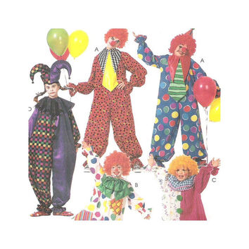 McCall's 3306 Sewing Pattern Adult or Teens Costume Clown Jester X Small Halloween Costume 2 Hour Pattern