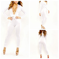 White Deep V-Neck Tie Long Sleeve Bodycon Jumpsuit