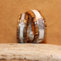 Wood Ring, Antler Ring, His and Hers, Elk and Bocote with Wire Inlay