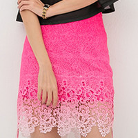 Pink Gradient Crochet Lace Pencil Skirt
