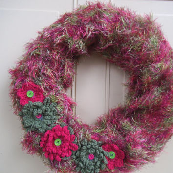 SPRING Wreath, Floral Wreath, Shabby Wreath, Pink and Green Wreath --Buttons, Crocheted Flowers , Door Wreath or Wall Wreath