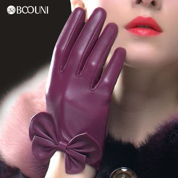 BOOUNI Genuine Leather Gloves Fashion Women Sheepskin Glove Wrist Bow knot Thermal Velvet Lining Winter Driving Gloves NW785
