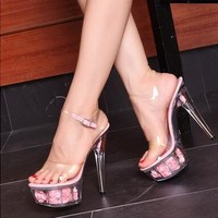 Sexy Transparent Ankle Strap High Heels