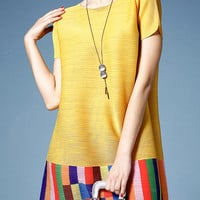 Yellow Color Block Pleated Elastic Dress