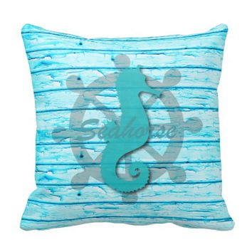 Rustic Nautical Seahorse On Peeling Wood | Print Throw Pillow