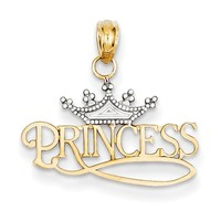14kt Yellow Gold Two Tone Detailed Crowned Princess Girls Pendant
