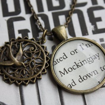Hunger Games 'Mockingjay' Double Pendant by PrettyLittleCharmsUK