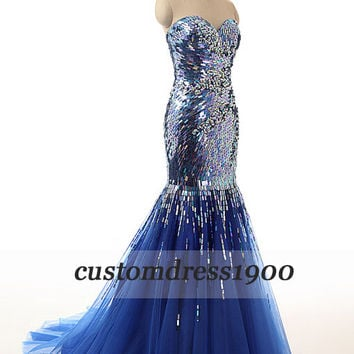 Sweetheart prom dress,formal women evening dress,royal blue handmade sequins tulle party dress,bridesmaid dress