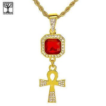 "Jewelry Kay style Men's Iced Out Double Red Ruby & Ankh Cross Pendant 20"" Chain Necklace NA 0161 G"