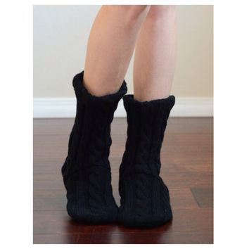 Cute Cozy and Snuggly Cable Knit Black Slipper Socks