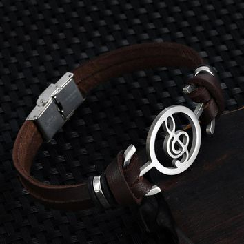 Musical Bracelet fashion Design stainless steel Genuine Leather Bracelets For Women Men Charm Jewelry Bangle pulseira