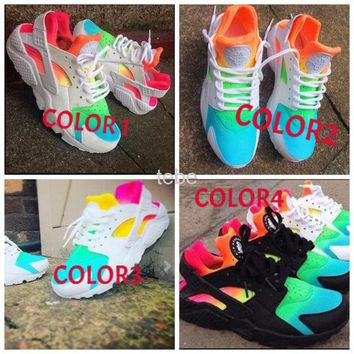 Nike Air Huarache Fashion Women Men Casual Rainbow Breathe Multicolor Sport Running Shoe Sneakers I