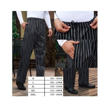 1pc hotel chef work pant kitchen slacks overalls black striped chief master trousers and rear Chef Pants by