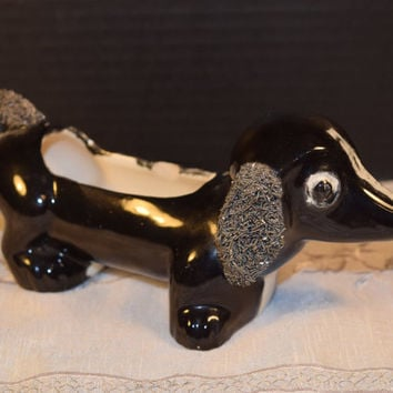 Black White Poodle Planter Vintage Spaghetti Poodle Mid Century Planter Poodle Dog Lover Collectible Planter Kitschy Office Windowsill Decor