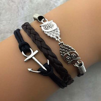 Anchor and owl charm bracelet, personalized black wax rope weaving bracelets