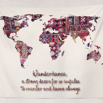 Wanderdance Indian Fabric Map Of Earth Tapestry Wall Hanging Meditation Yoga Grunge Hippie Wanderlust