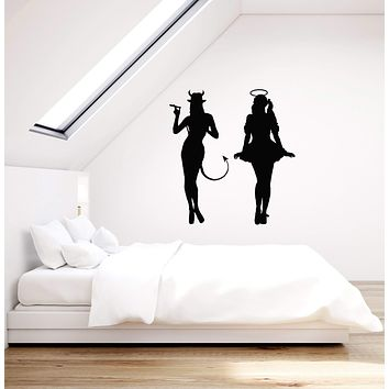 Vinyl Wall Decal Silhouettes Angel and Demon Room Art Decor Stickers Mural (ig5257)