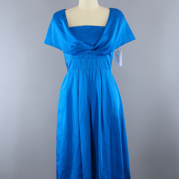 Vintage 1950s Electric Blue Satin Cocktail Party Dress