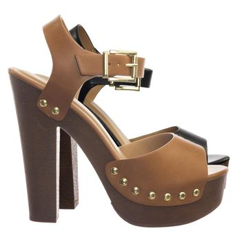 Mally Retro 70s Lightweight Sculpted Faux Woodgrain Clog Block Heel  Sandal