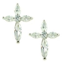 Cross Shaped White CZ Flower Stud Earrings