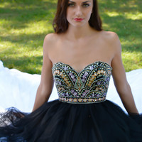 Angela & Alison 52046 Black Jeweled Cocktail Dress Homecoming Short Prom $350