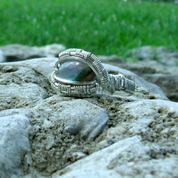 Wire Wrap Ring Labradorite Diamond 925 Sterling Silver Size 7.5 Handmade Heady Jewelry