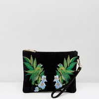 Oasis Embroidered Bird Clutch at asos.com